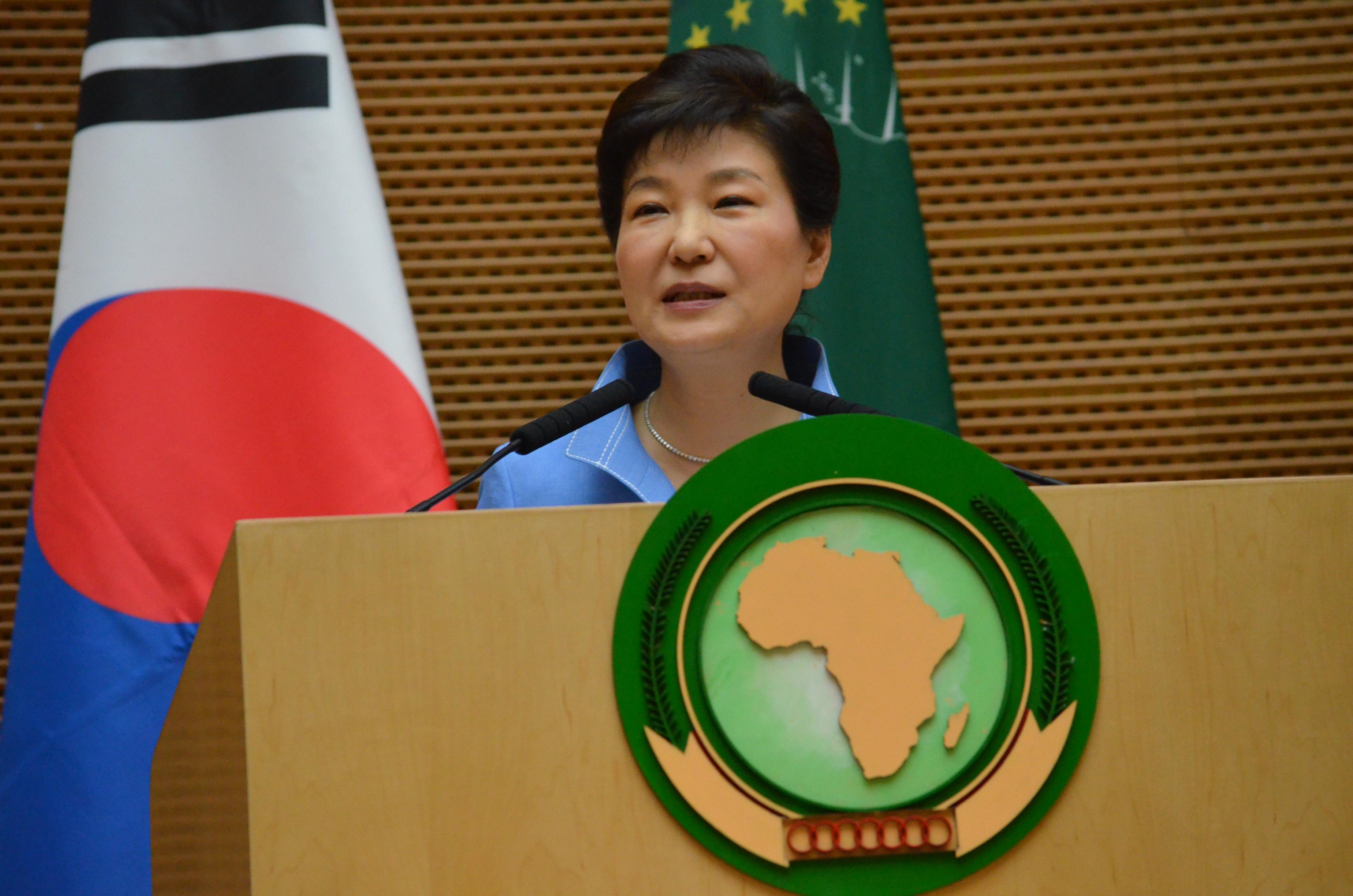 Die südkoreanische Staatspräsidentin Park Geun-hye hält eine Sonderrede am 27. Mai 2016 am Hauptsitz der Afrikanischen Union im äthiopischen Addis Abeba.