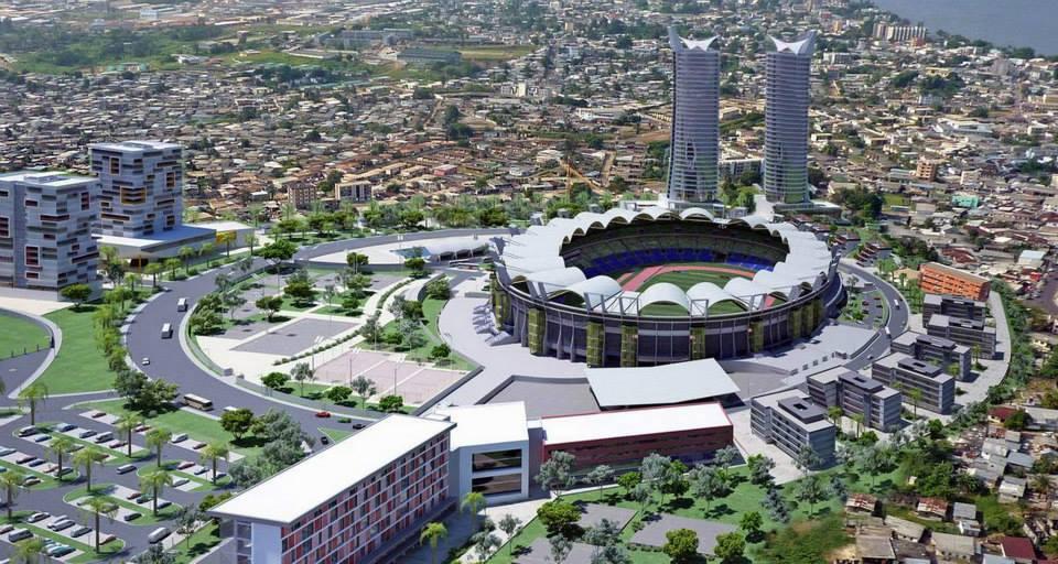 Stadionmodell von Port-Gentil -- Das hochmoderne neue Stadion von Port-Gentil wird vom chinesischen Unternehmen China State Construction Engineering Corporation gebaut.